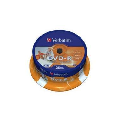 Verbatim DVD-R 4,7GB Printable 25 stuks Spindel