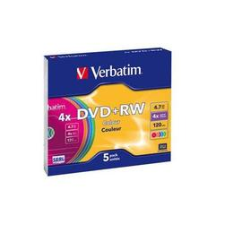 Verbatim DVD+RW 4,7GB Colours 5 stuks Slimcase