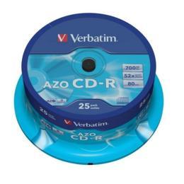 Verbatim CD-R AZO Crystal 700MB 25 stuks Spindel