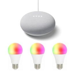 3-pack Woox R4553 Slimme E27 RGB lamp en Google Nest Mini