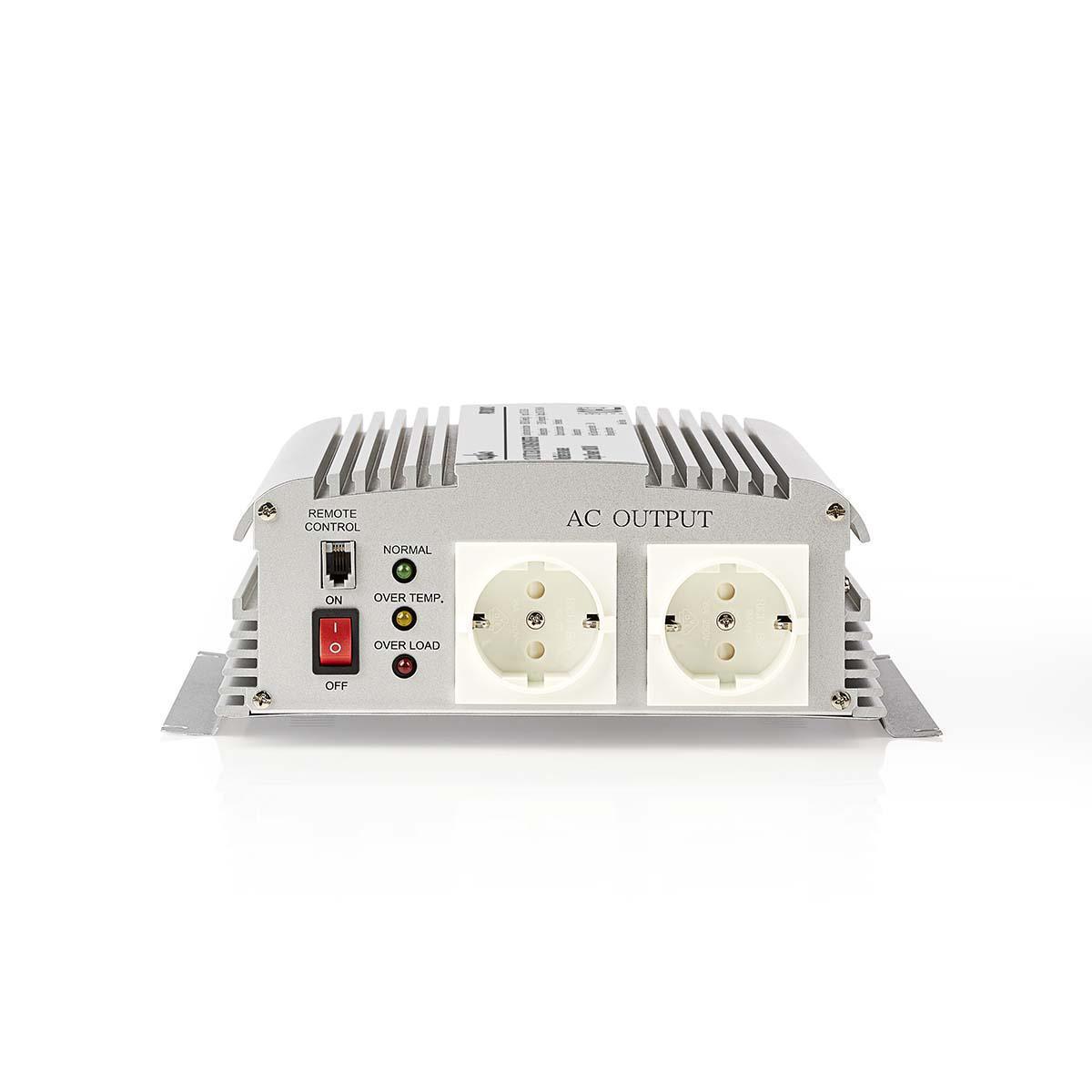Stroomomvormer Gemodificeerde Sinusgolf | 12 V DC 230 V AC | 1000 W | 2x Schuko-Uitgang