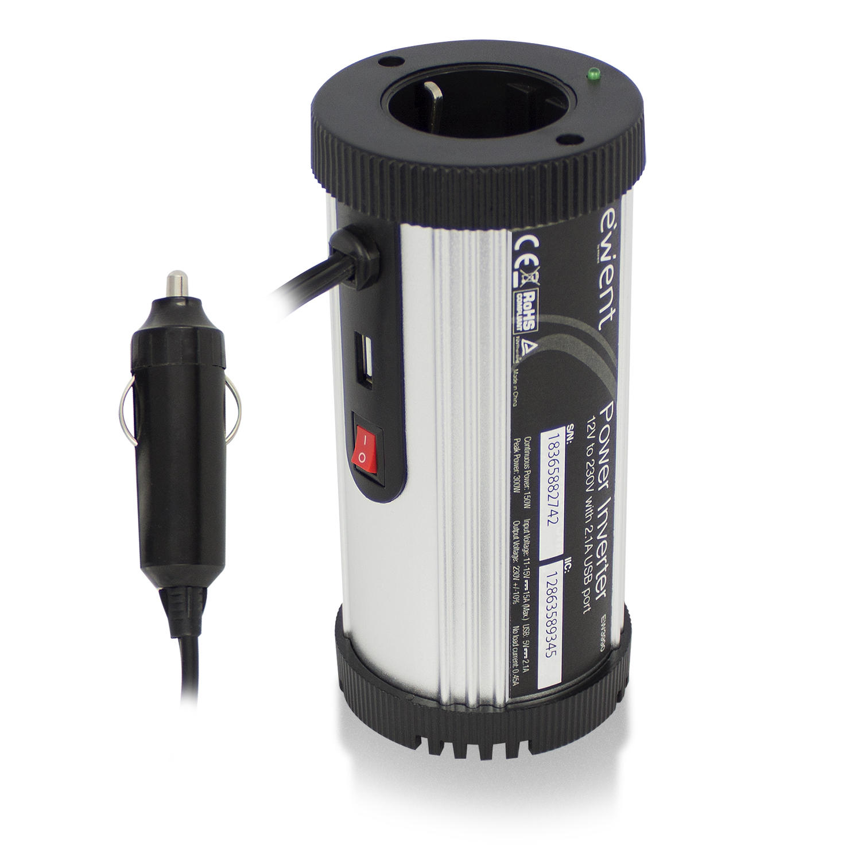 Ewent EW3990 Power Inverter 12V to 230V (150Watt) with 2.1