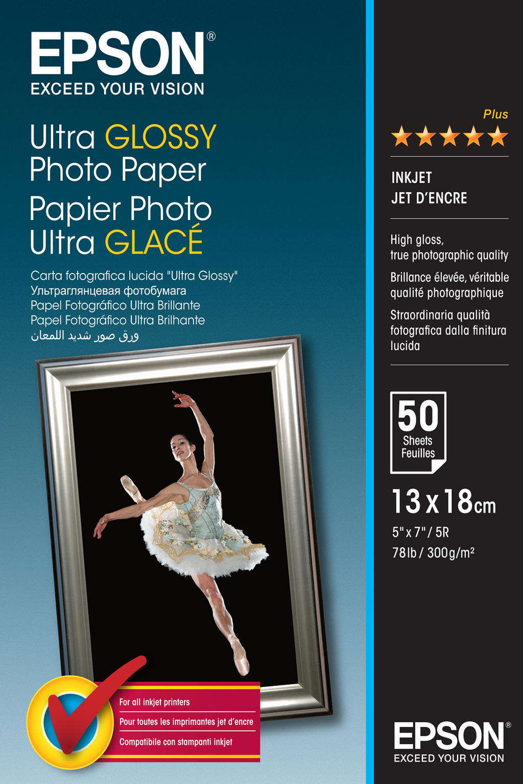 Epson Ultra Glossy Photo Paper, 130 x 180 mm, 300g-m², 50 Vel