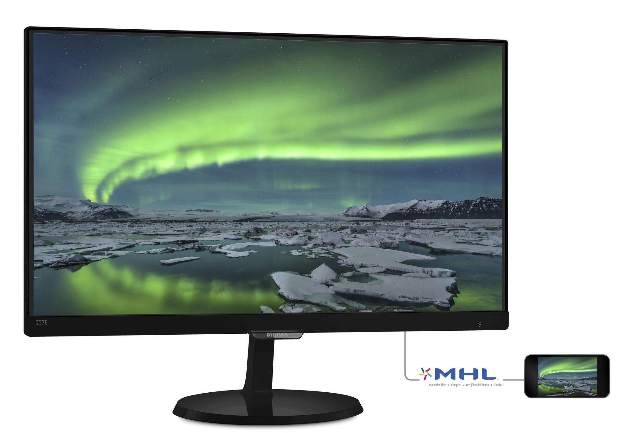 Philips 237E7QDSB 23i AH-IPS LED 5ms 1920 x 1080 16-9 MHL-HDMI DVI VGA 250 cd- (237E7QDSB-00)