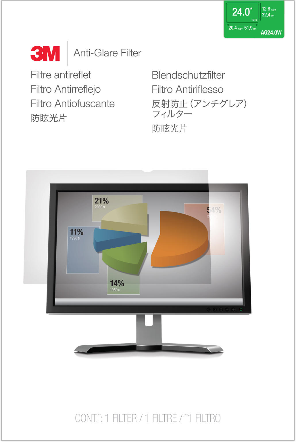 3M Anti-Glare filter voor 24 monitor