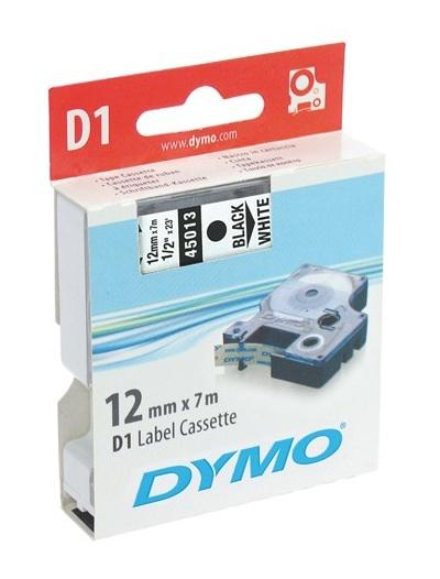 Dymo label D1 Zwart/Wit 12mm x 7m